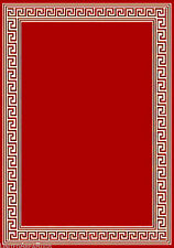 "8x10  Area Rug Modern Greek Key Design with Border Red Carpet Size 7'7""x10' New"