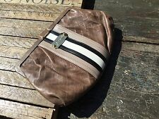 $$ L.A.M.B Brown Quilted Striped Down Hand Bag Clutch