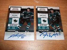 (2) 2010-11 Hockey Contenders Mike Moore & Tommy Wingels Rookie Auto Cards Lot