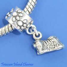 Pekingese Dog Peke .925 Solid Sterling Silver European Euro Dangle Bead Charm