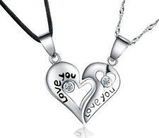 Pair 925 Sterling Silver Leather Necklace Couple Heart Pendant Chain Love You E9