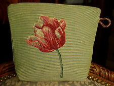 Belgian Tapestry Small Bag ~ Pink & Green Tulip