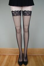 SPANDEX STAY UP LACE TOP FISHNET Stockings BLACK PLUS