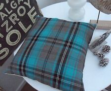TARTAN CUSHION COVER CHECK PLAID BLUE TEAL GREY TURQUOISE INDUSTRIAL CHRISTMAS,,