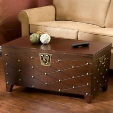 Upton Home Nailhead Espresso Brown Living Room Cocktail Coffee Sofa Table Trunk