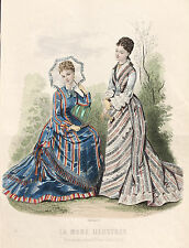 Fashion Magazine 1876 - ORIGINAL Holzstich Sonnenschirm Walking-Dress Gloves