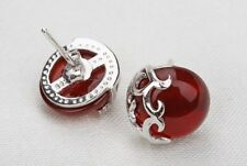 925 Sterling Silver Natural Gemstones agate garnet Stud earrings gift box D5