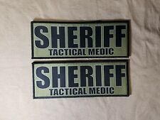 "2-Pack 3x8"" SHERIFF TACTICAL MEDIC OD Grn Hook Back Morale Patch Badge SWAT Lot"