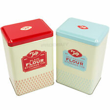 Set of 2 Tala Flour Storage Tins Plain & Self-Raising Vintage Retro Containers