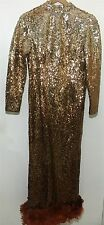 VTG Rare Custom Copper Bronze Sequin Feather Stage Long Drag Prom Pagent Dress