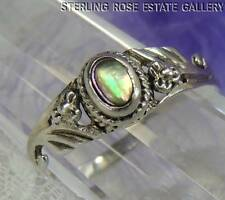 VINTAGE ABALONE Hand Crafted Sterling Silver 0.925 Estate Band RING size 8