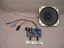 "DELUXE CIGAR BOX GUITAR AMP KIT, 9-12V  WITH 4"" SPEAKER, NO SOLDERING"