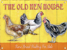 New 15x20cm OLD HEN HOUSE rare breed vintage enamel style metal advertising sign