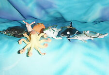 Set of Six ~ Sea Animal Octopus Orca Seal Turtle S-2  Small Christmas Ornaments