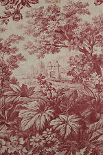 Antique French castle toile raspberry red material 19th century fabric aged