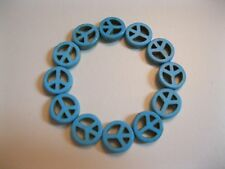 New Genuine Turquoise Peace Sign Bracelet
