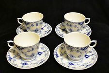 Royal Copenhagen! Blue Fluted Half Lace! Tea Cups And Saucers Set Of 4! 756