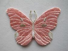 #3971 Pink/Sliver Butterfly Embroidery Iron On Applique Patch