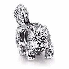 Cat Silver charms beads For European sterling 925 Bracelet/Necklace snake Chain