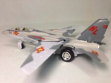 "F-14 Tomcat Aircraft U.S. Navy Military, 7"" Diecast Pull Back To Go Toys Gray"