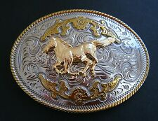 Two Toned Gold Silver Horse Animal Western Belt Buckle Boucle de Ceinture
