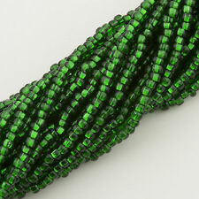 Vintage Czech Seed Beads Round 11/0 Silver Lined Green 1 hank 42g 10645060