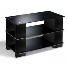 TV Stand Black Glass CD DVD storage Black Wood Open Cabinet LCD LED ELITE Media