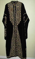 KAFTAN Vtg Robe Black Velvet Embroidery/Metallic Thread Lined Button Down - L