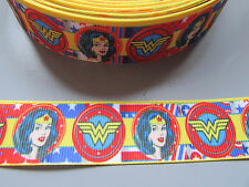 Wonder Woman Grosgrain Ribbon 2.5cm  x 1 Metre Sewing/Crafts/Cake