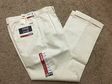 NWT IZOD American Chino Classic-Fit Khaki Double Pleat Pant Stone 36X30 MSRP$50