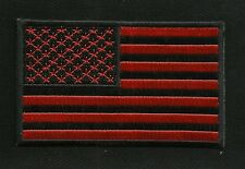"RED & BLACK AMERICAN USA FLAG 4"" MOTORCYCLE BIKER MILITARY PATCH FORWARD"