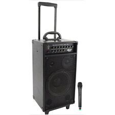 PYLE PWMA1080I 800 Watt VHF Wireless Portable PA System Echo with iPod Dock