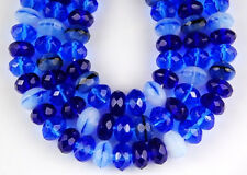 25 Blue Mix Fire Polis Rondelle Czech Faceted Glass Beads Jewelry Craft 6x9mm