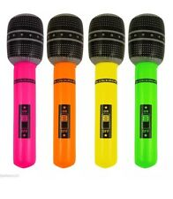 12x Inflatable Microphone Blow Up Mic Neon Fancy Dres Party Accessory Karaoke UK
