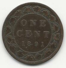 CANADA, 1891,  SMALL DATE,  LARGE LEAVES,  LARGE CENT,  BRONZE, KM#7,  VF-XF