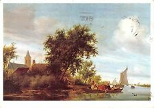 B100254 a river scene with a ferryboat painting postcard salmon van ruysdael uk