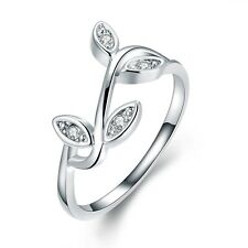 Silver Plated Leaves Curly bridal engagement medium ring 17.5 mm size O FR251