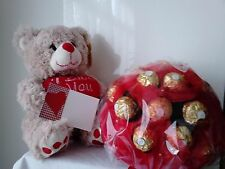 "9 inch TEDDY BEAR WITH ""I LOVE YOU "" + Mother's Day Bouquet+ Greeting Card"