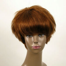 perruque AFRO femme 100% cheveux naturel châtain clair cuivré ref WHIT 07/30