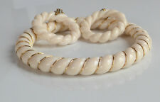 VINTAGE lot 50's cream rope gold wired molded plastic BANGLE BRACELET EARRINGS
