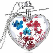 Red & Blue Flowers Silver Heart Pendant Necklace - Xmas Gifts For Her Wife Women