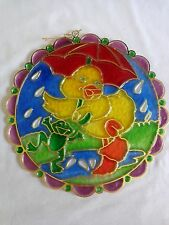 "Plastic Suncatcher 8.5"" Duck and Frog Splashing Rain Puddle Faux Stained Glass"