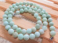 """New Grade A 8.5mm Green Jadeite Jade Beads Link Necklace Lucky Beads Chain19.7""""L"""