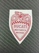 1 Stickers Scudetto DUCATI Meccanica Vintage White & Red 3D resinato 50 mm