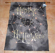 Happy Halloween ~ Spooktacular ~ Spider Web Tapestry Wall Hanging w/Lights