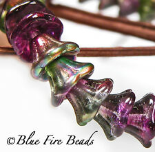 BFB-Premium Czech Glass Bell Flower Beads 7/5mm *Prism / Purple Pansy* 15 Beads