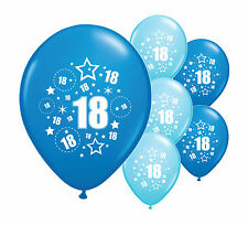 "8 x 18TH BIRTHDAY BLUE MIX 12"" HELIUM OR AIRFILL BALLOONS (PA)"
