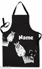 PERSONALISED CARTOON ZEBRA'S CHILDRENS APRON BAKING PAINTING WATER ARTS & CRAFTS