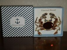 """Vineyard Haven~Women's Crab White Rose Crystals Gold Tone Brooch~ 2.5"""" x 2.75"""""""
