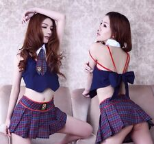 Sexy Lingerie School Girl Costume Dress Plaid Skirt Tie Temptation Sailor Outfit
